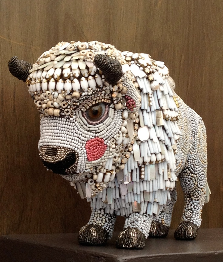 Dancing Boy- The Beaded White Buffalo Calf by Betsy YoungquistBeads White, Beads Mosaics, Sculpture Beads, Dance Boys, Betsy Youngquist, Betsyyoungquist, Buffalo Calf, Mosaics Collection, White Buffalo