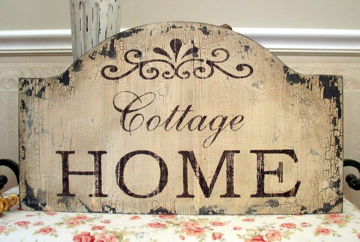 cottage home shabby chic sign vintage style distressed. Black Bedroom Furniture Sets. Home Design Ideas