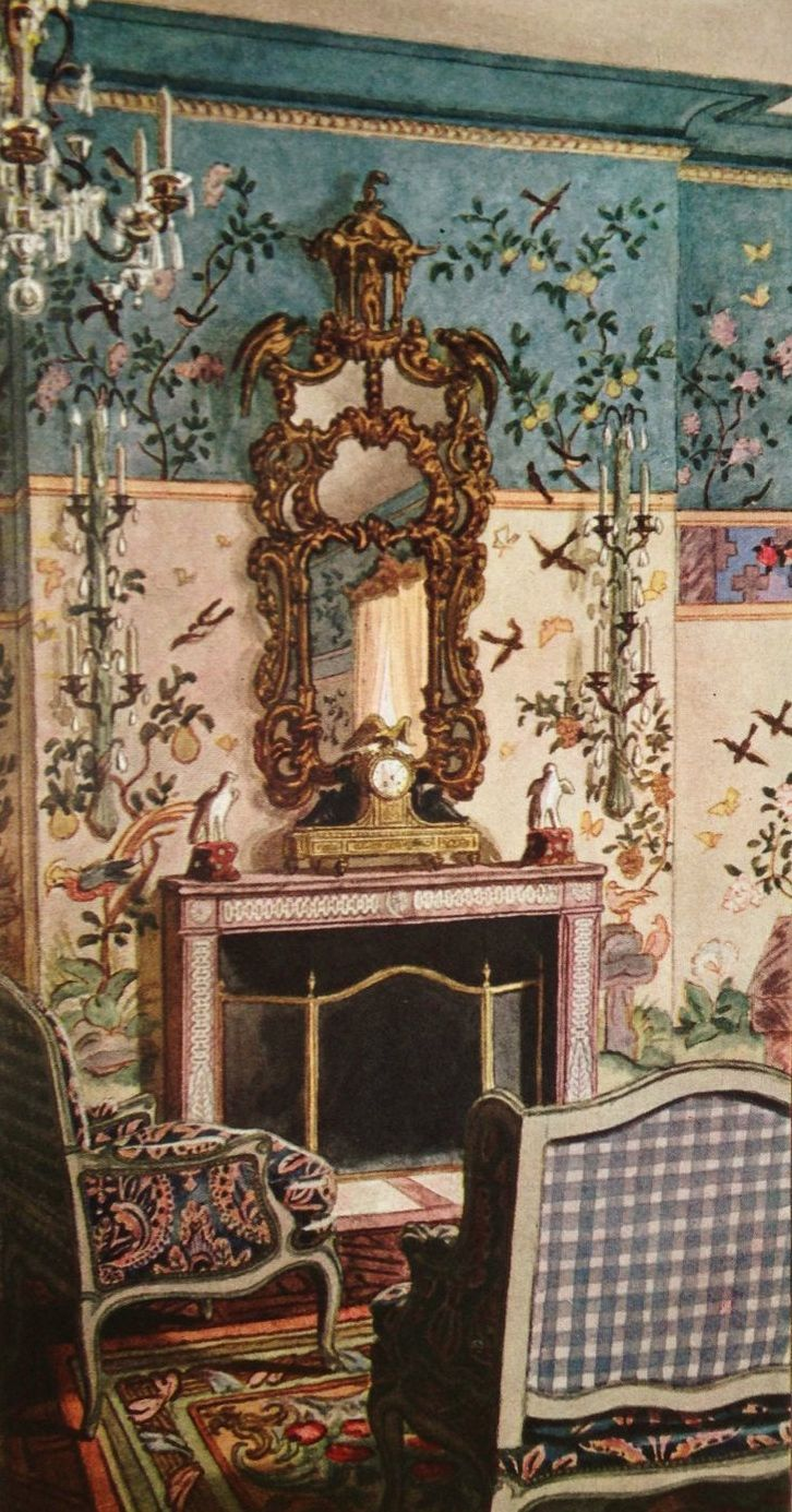 An absolutely GORGEOUS color rendering of Elsie de Wolfe's decor for the ballroom of Conde Nast's Park Avenue penthouse