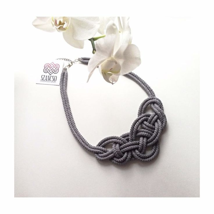 Handmade grey traditional necklace with orchid