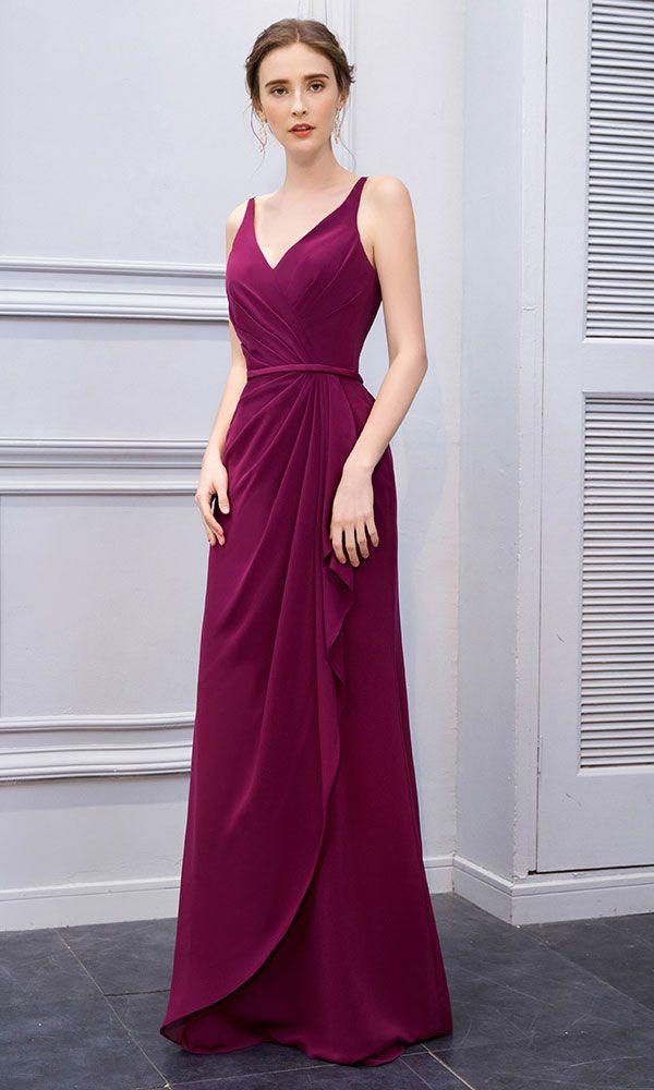 Long Grape Chiffon V Neck Straight Prom Dresses d8832e6badd9