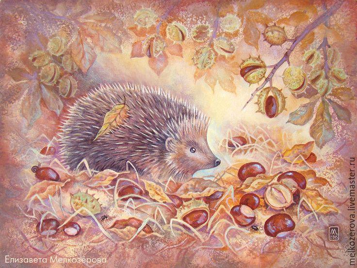 """Купить Картина """"Каштановая осень"""" - коричневый, бежевый, каштановый, каштан, каштаны, сепия, картина, ежик"""