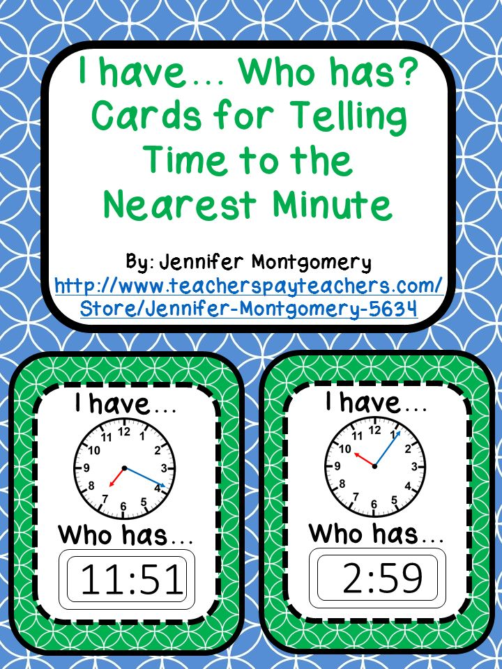 """This """"I have... Who has?"""" set comes with 24 cards to cover telling time to the nearest minute. This set is designed so you can begin with any time so there is no specific start card! Use these cards to make sure your students can read both analog and digital clocks."""