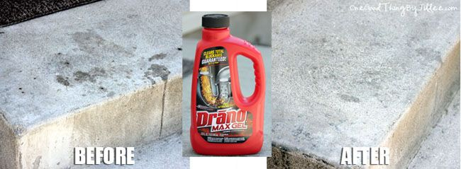 Use drano gel on concrete stains.  Apply, let sit then hose off.  (from http://www.onegoodthingbyjillee.com/2012/08/drano-saved-my-marriage.html#)