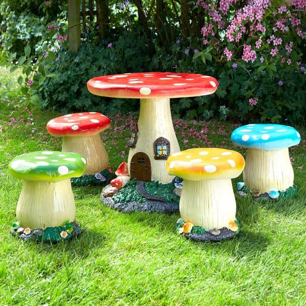 Add a touch of fantasy to any garden with this 5 piece toadstool mushroom table and chair set, a must have for any child or mythical fantasy lover! This furnitu