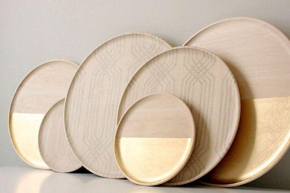 """gold leaf tray 14""""   modern home decor"""