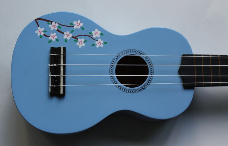 Cherry Blossoms on a Light Blue Mahalo Ukulele