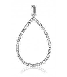 Zinzi zilveren ovale hanger wit ZIH1068