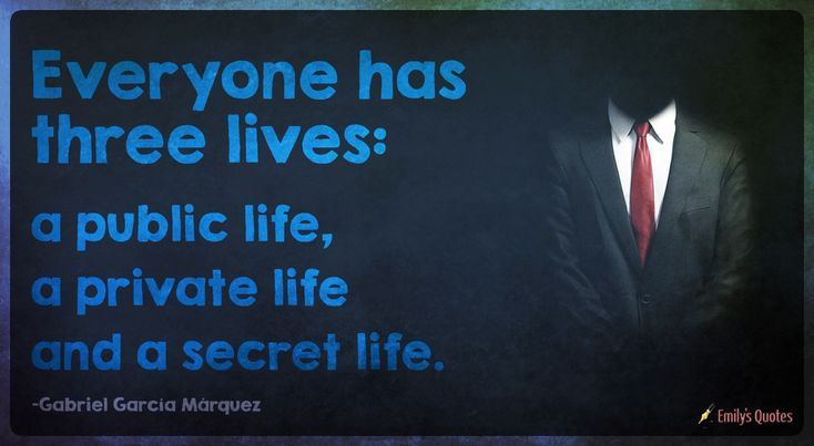Everyone has three lives: a public life, a private life and a secret life