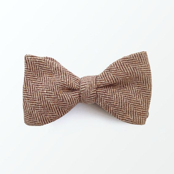 Tweed bow ties for Men, Brown Herringbone Wool Fabric Self Bow tie for Wedding and Gift / READY TO SHIP on Etsy, $30.00