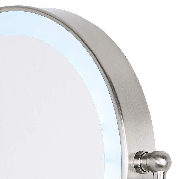 Cordless Led Pivoting Satin Nickel Wall Mount Mirror P4739 Lamps Plus Wall Mounted Mirror Double Sided Mirror Wall Mounted Vanity