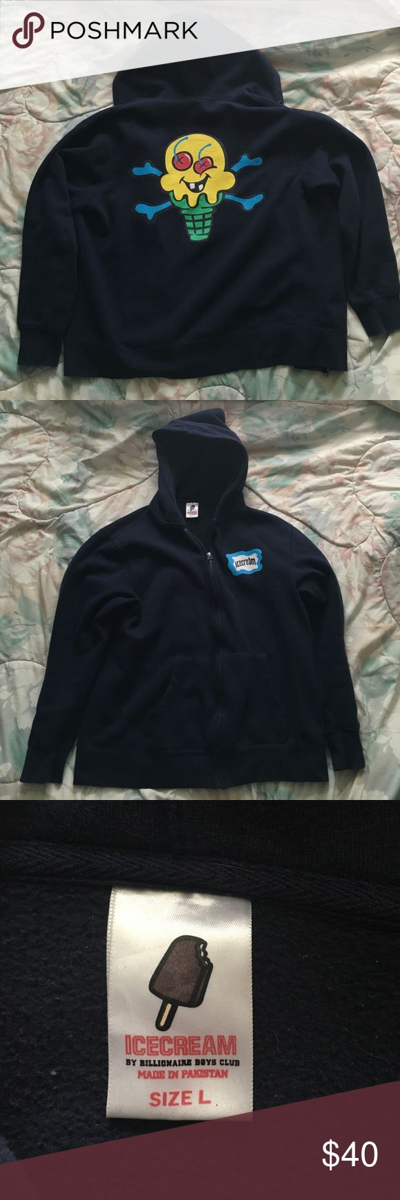 Ice Cream zip up hoodie Navy blue Ice Cream zip up hoodie in good condition no visible wear and tear. proof of authenticity included (see image above). Ice Cream Sweaters Zip Up