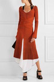 Placcato-maglia ed il vestito midi allungare-seta