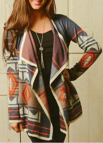 Trendy Turn-Down Neck Long Sleeve Geometric Pattern Women's Cardigan