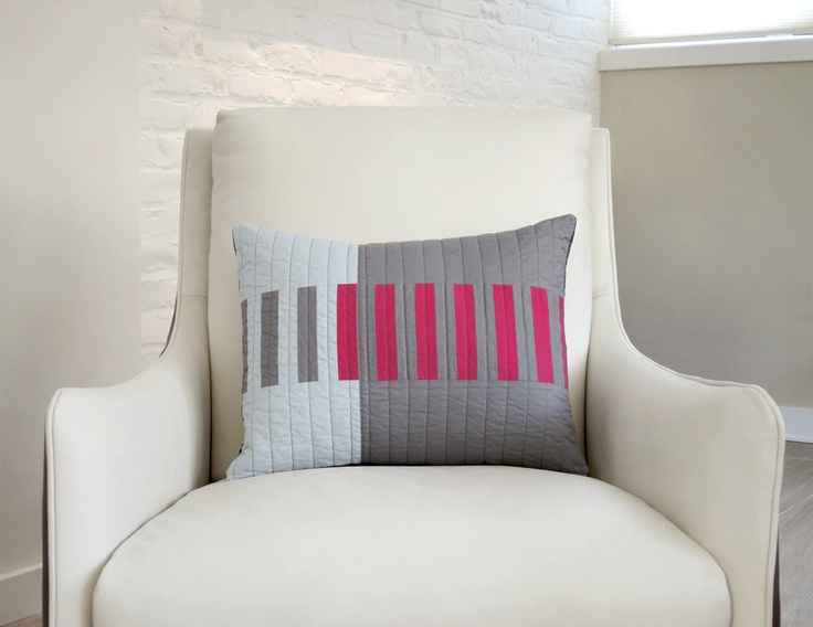 """""""Cerise Picket"""" pillow by Barbara Perrino. I'd love to see this as an entire quilt."""