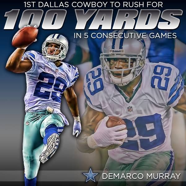 Congratulations to DeMarco Murray! His streak of five consecutive 100-yard games allows him to become the first Dallas Cowboy to ever accomplish that feat.