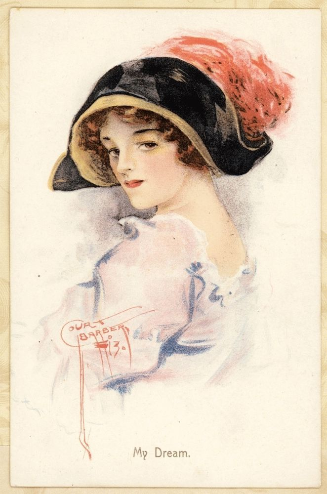 c1910 A/S Court Barber Pretty Lady Woman Pink Feather Hat Vtg Antique Postcard