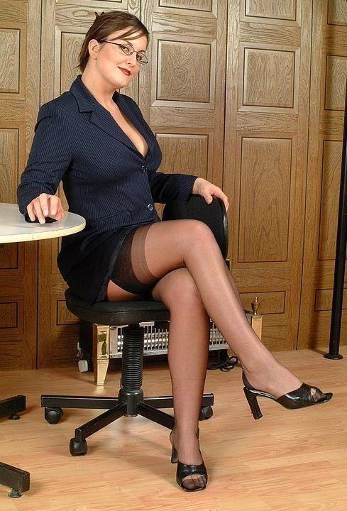 pantyhose Mature secretaries in torn