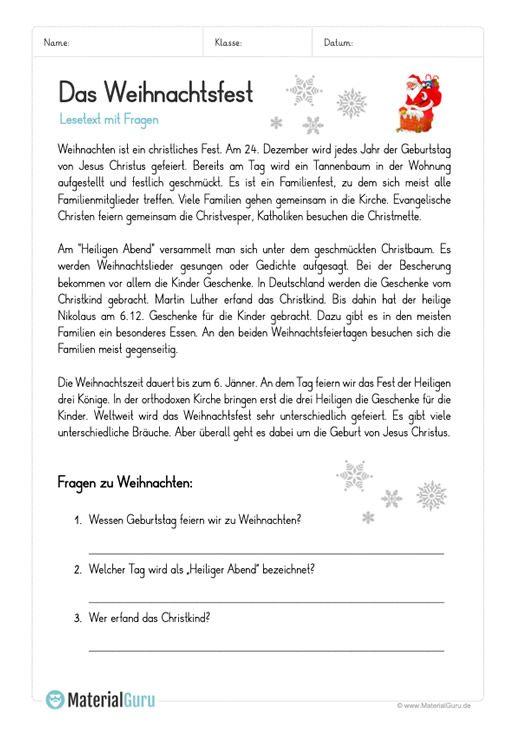 arbeitsblatt lesetext das weihnachtsfest. Black Bedroom Furniture Sets. Home Design Ideas