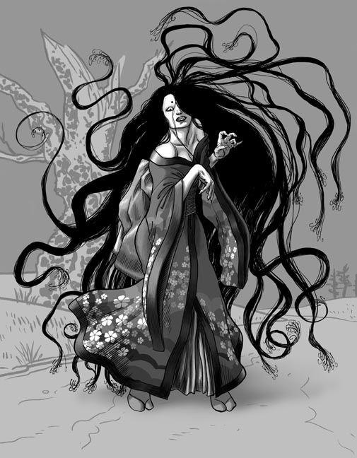 針女子 (Barbed Woman)  Harionago is a frightening female ghoul said to be extremely beautiful. She has extremely long hair tipped with thorn-like barbs which are directly under her control. Wandering around Ehime, Shikoku, it has been said that when she sees a young man, she laughs and when he laughs with her, she will attack him.