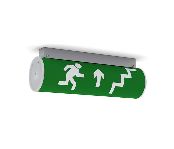 Emergency ceiling-mounted luminaire with body made of steel and electrostatic 100% polyester paint with textured finish. Single sided pictogram, with..