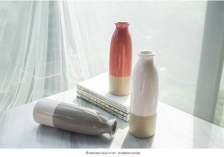 Натуральная Dream House DH VS156323 керамическая ваза для цветов Современная цветок фарфора бутылка для домашнего украшения сада купить на AliExpress