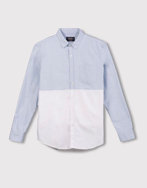 :PANELLED OXFORD SHIRT