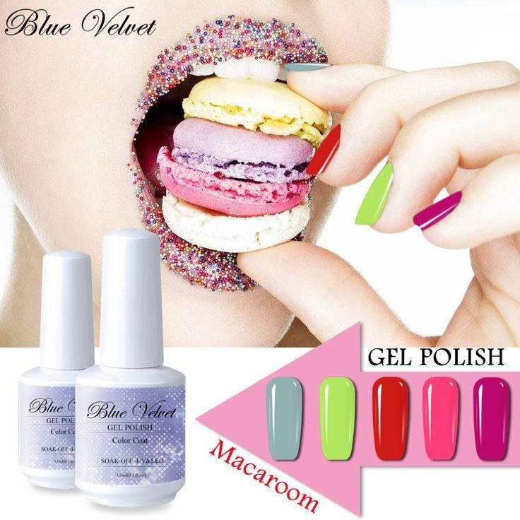 Blue Velvet 10ml <font><b>Macarron</b></font> Gel Nail Polish Long lasting Nail Manicure Soak Off UV GEL Varnish 32 Colors Candy Color Lacquer