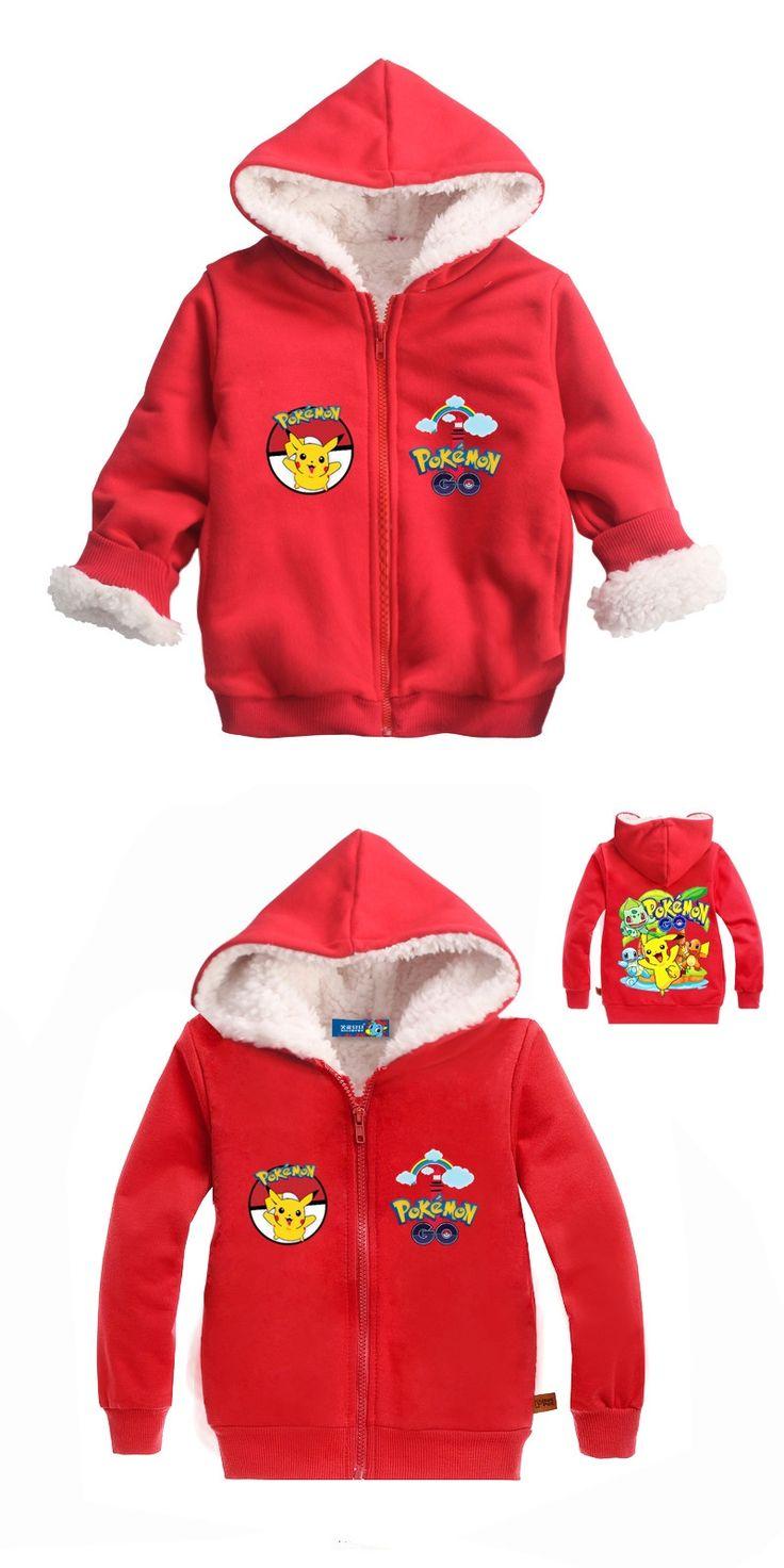 2017 Winter Baby Coat Pokemon Costume Pikachu for Kids Fur Jacket Hooded Children Outerwear Winter Jackets Coats Cartoon MS0756