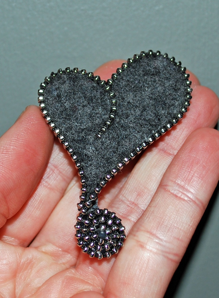 Brooch/Pin - Gray Asymmetrical Heart with Silver Zipper