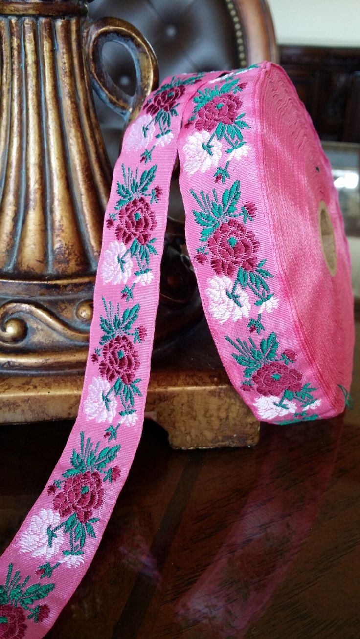 """1"""" Vintage French Pink Woven Ribbon Trim with Jacquard  embroidered Deep Berry/White Florals and Dark green leaves 392-80 by EtsyVintageRibbons on Etsy https://www.etsy.com/listing/208017757/1-vintage-french-pink-woven-ribbon-trim"""