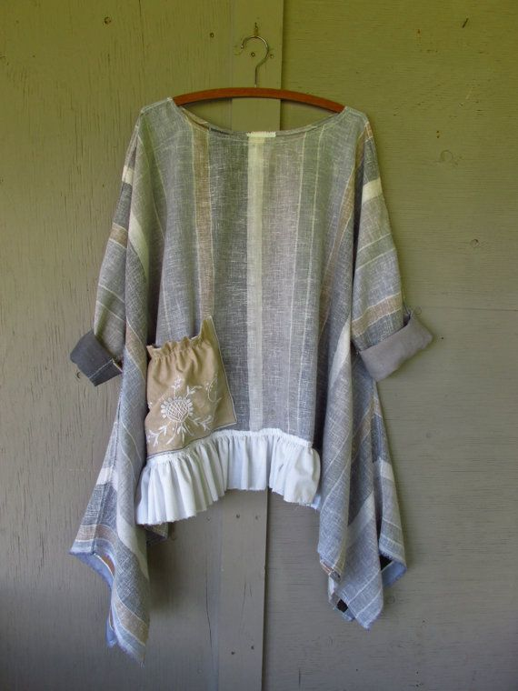 French shabby summer tunic/Bohemian top/Boho by lillienoradrygoods, $79.50