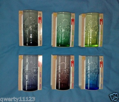 18b7e95408e7 McDonalds Coca Cola Coke Glass Set x6 Colors 2011 RARE 125 Anniversary