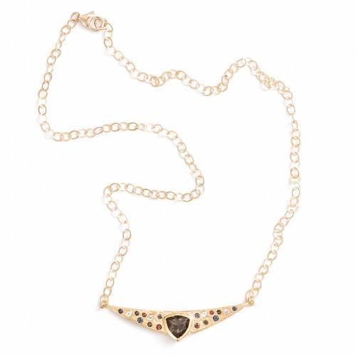 Trillion Necklace Gold Smokey Quartz