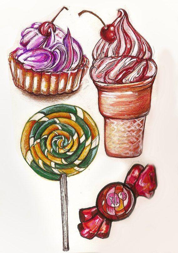 вкусняшки, сладкое, пирожное, мороженое, леденец, конфетка, скетчбук