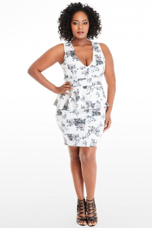 Plus Size Rose Fl Scuba Peplum Dress Fashion To Figure