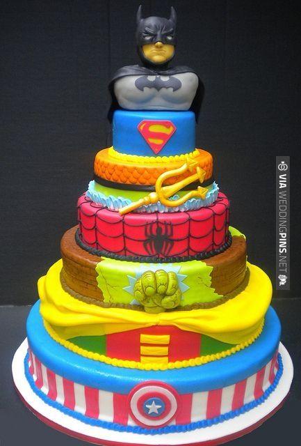 super hero tiered cake!!! | CHECK OUT MORE IDEAS AT WEDDINGPINS.NET | #weddings #uniqueweddingideas #unique
