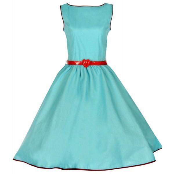 Retro šaty ve stylu 50. let. krásné retro šaty v originálním looku audrey hepburn, který je zase zpět! výrazná světle azurová barva, áčkový střih, který nikdy nevyjde z módy, červený lakovaný pásek se srdíčkem.