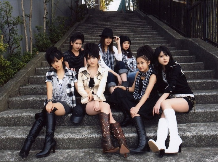 °C-ute (circa 2008) promoting Namida no Iro. This idol group from the same umbrella group (Hello! Project) as Morning Musume was formed in 2006, but only rose into prominence at around this time. Originally an 8-member group, only 5 members remain in 2012.