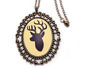 Deer Necklace Silhouette Hand Painted Pendant Art and Fawn Buck Antlers Hunting Nickel Free Jewelry Woodland Animal Etsy Cyber Monday