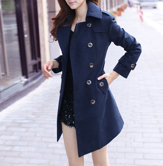Tailored Navy Blue Wool Coat Double Breast Sheathy Trench Coat