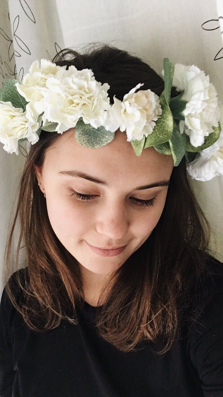 Newest crown to hit my #etsy shop: Handmade Carnation Flower Crown   #accessories #hair #white #wedding #green #spring #leaves #wreath #bridal  https://www.etsy.com/ca/shop/TheLittleSeaShop