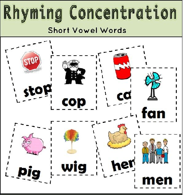 rhyming concentration preschool literacy center ideas pinterest school age activities. Black Bedroom Furniture Sets. Home Design Ideas