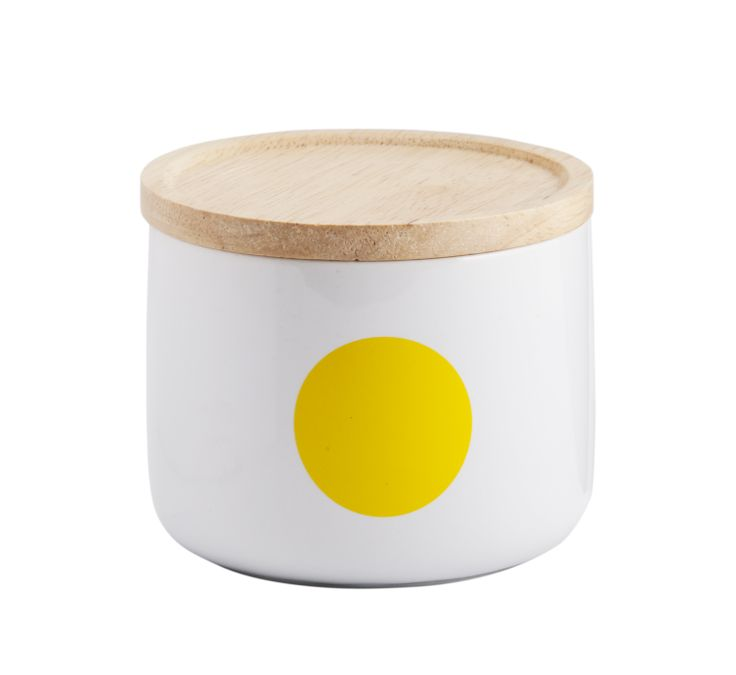 General Eclectic Kitchen Storage- Small Canisters- Yellow Dot. Add colour and functionality to your kitchen storage with these cute small  ceramic jars/ canisters with wooden lids from General Eclectic.