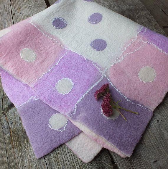 Lavender Felted Baby Blanket, Handmade Felt Baby Quilt, Newborn Felt Blanket, Newborn Gift for Girls