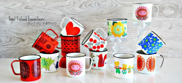 Finel and Arabia enamel mugs