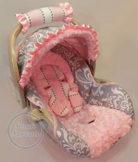 Custom Boutique Grey Damask Stripe with light Pink Minky Infant Car Seat Cover. $109.00, via Etsy.