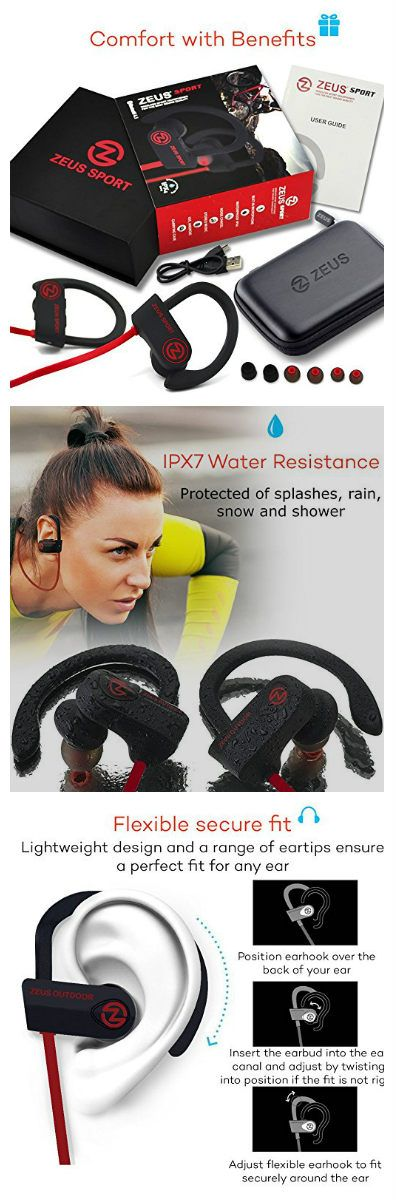 [$33.75] Bluetooth Headphones ZEUS OUTDOOR Wireless Earbuds HD Stereo Waterproof IPX7 Sweatproof Sports Earphones with Mic Best Wireless Headphones for Running Sport Workout Noise Isolation Bluetooth Headset