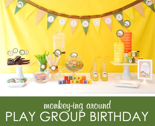 Monkey Theme Birthday Party IdeasMonkeys Ideas, Monkeys Birthday, Birthday Parties, Monkeys Parties, Boys Monkeys, Monkeys Plays, Parties Ideas, Monkeys Theme, Asher Birthday