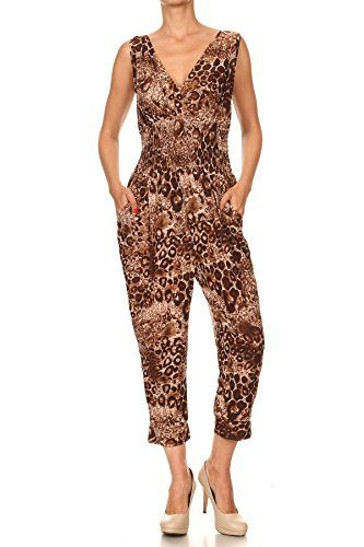 20d8b0be2c2 Hots-Wings Sleeveless Leopard Printed Casual V-Neck Jumpsuits Smocked Waist